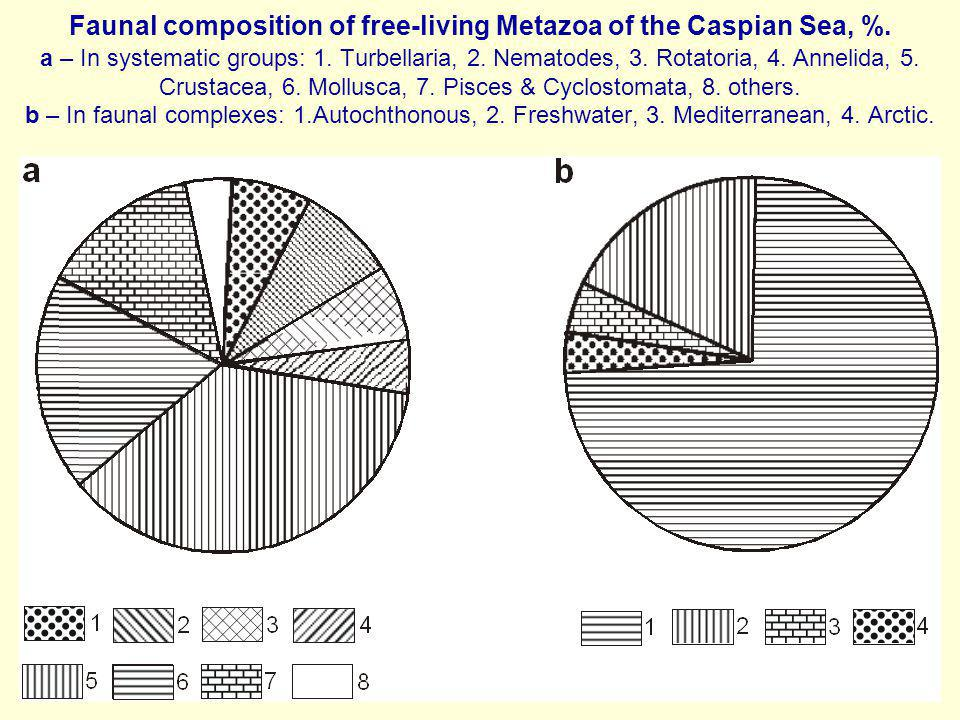 Faunal composition of free-living Metazoa of the Caspian Sea, %