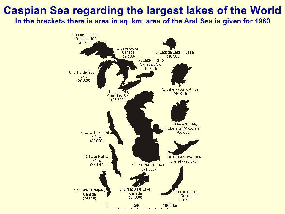 Caspian Sea regarding the largest lakes of the World In the brackets there is area in sq.