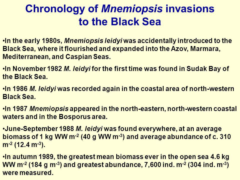 Chronology of Mnemiopsis invasions to the Black Sea