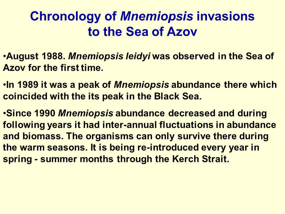 Chronology of Mnemiopsis invasions to the Sea of Azov