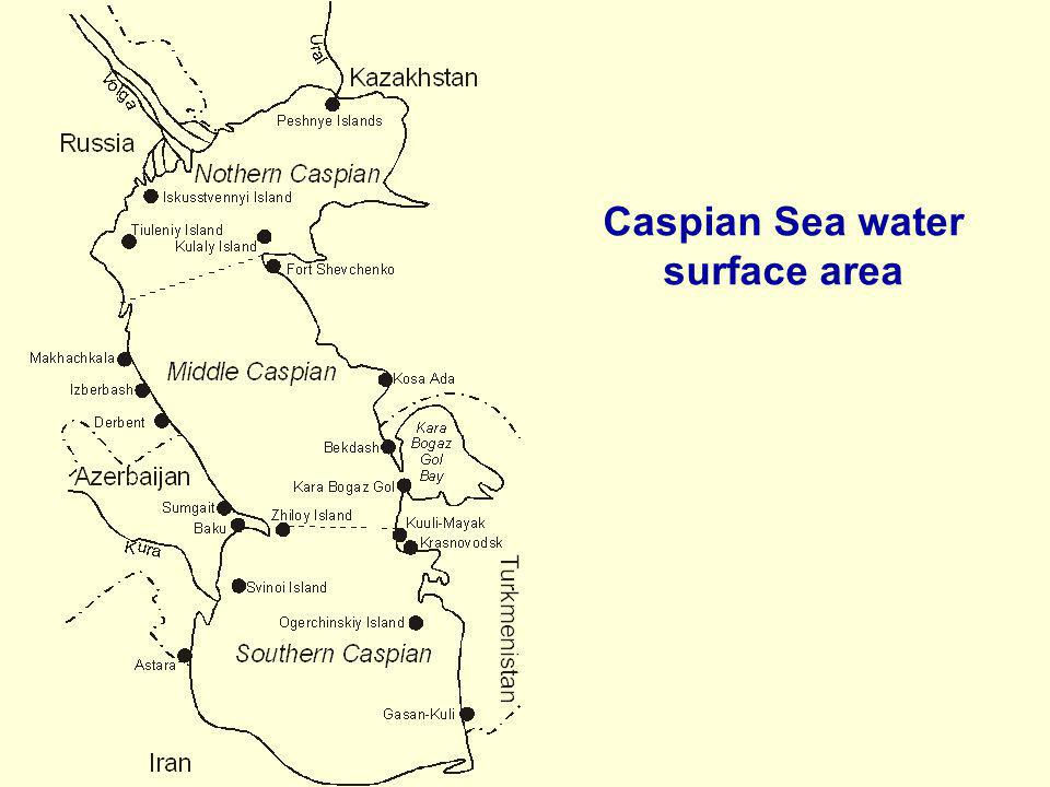 Caspian Sea water surface area