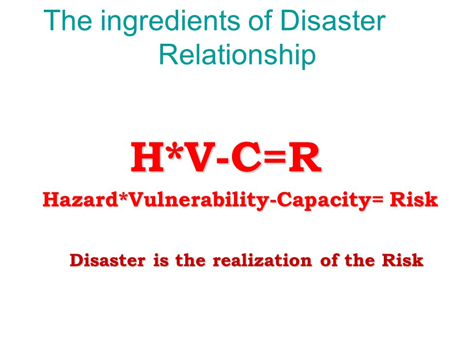The ingredients of Disaster Relationship
