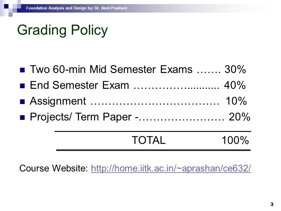 Grading Policy Two 60-min Mid Semester Exams ……. 30%