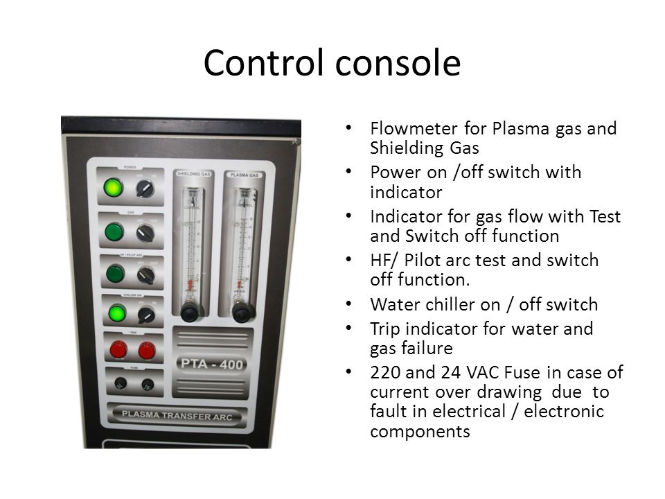 Control console Flowmeter for Plasma gas and Shielding Gas