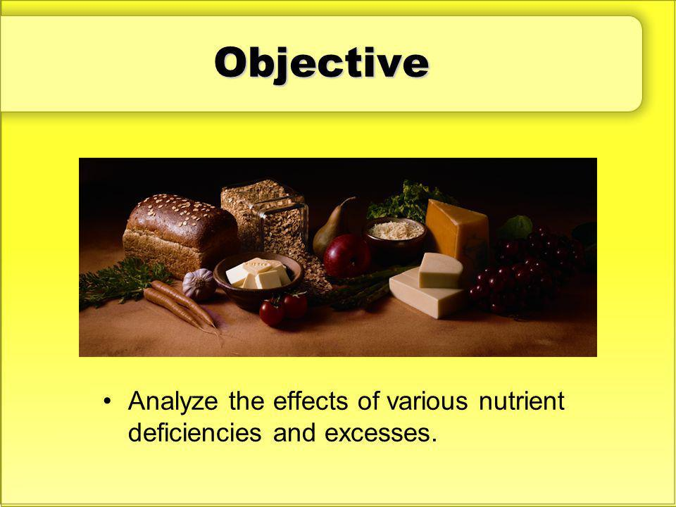 Objective Discuss: Why is it important to consume the right balance of the various nutrients