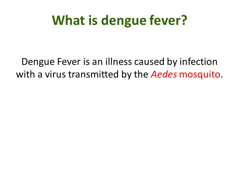 What is dengue fever Dengue Fever is an illness caused by infection with a virus transmitted by the Aedes mosquito.