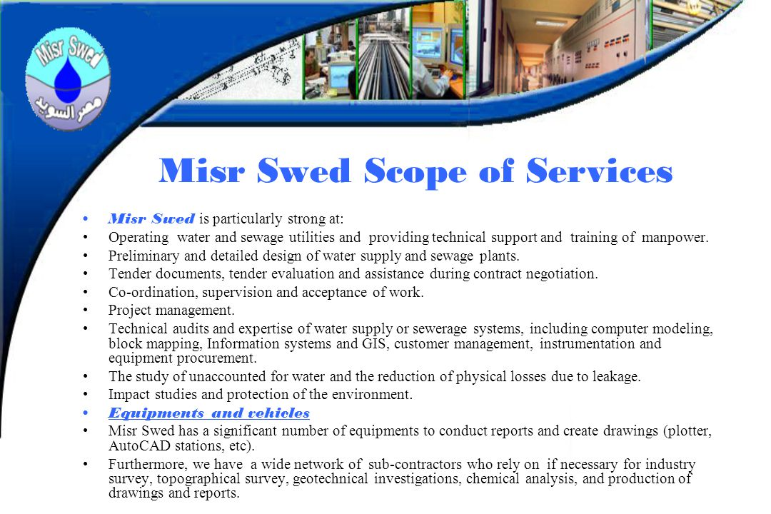 Misr Swed Scope of Services