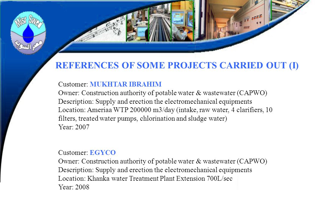 REFERENCES OF SOME PROJECTS CARRIED OUT (I)