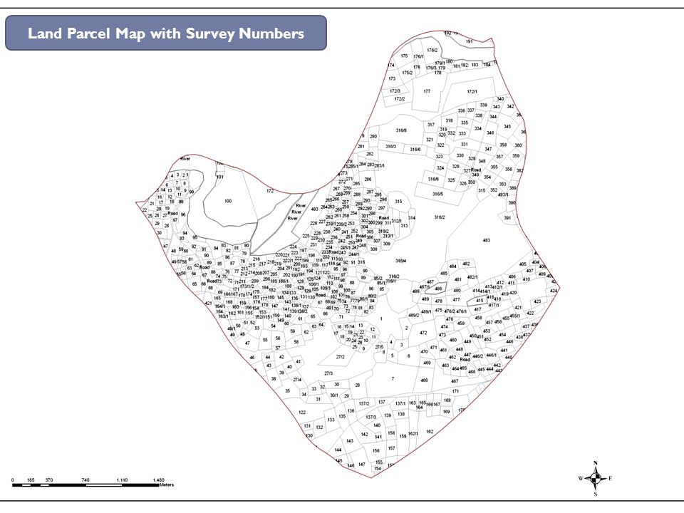 Land Parcel Map with Survey Numbers