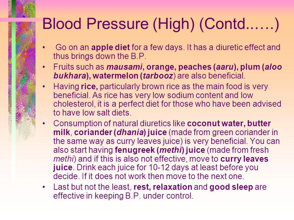 Blood Pressure (High) (Contd..….)