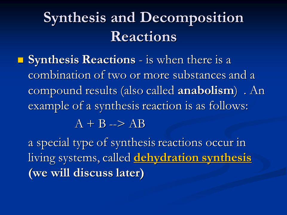 Synthesis and Decomposition Reactions