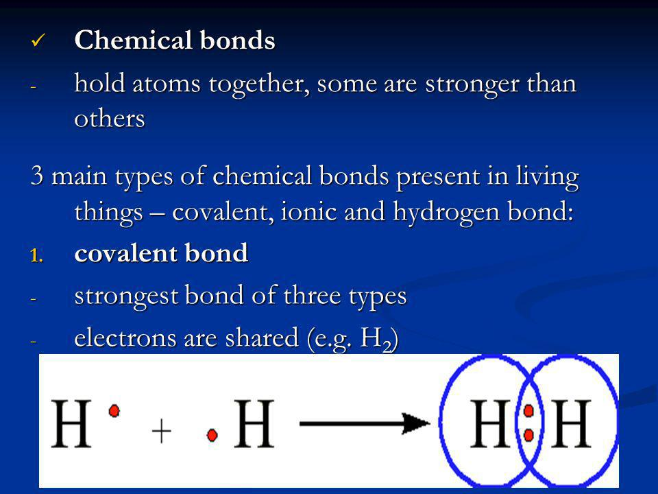 Chemical bonds hold atoms together, some are stronger than others.
