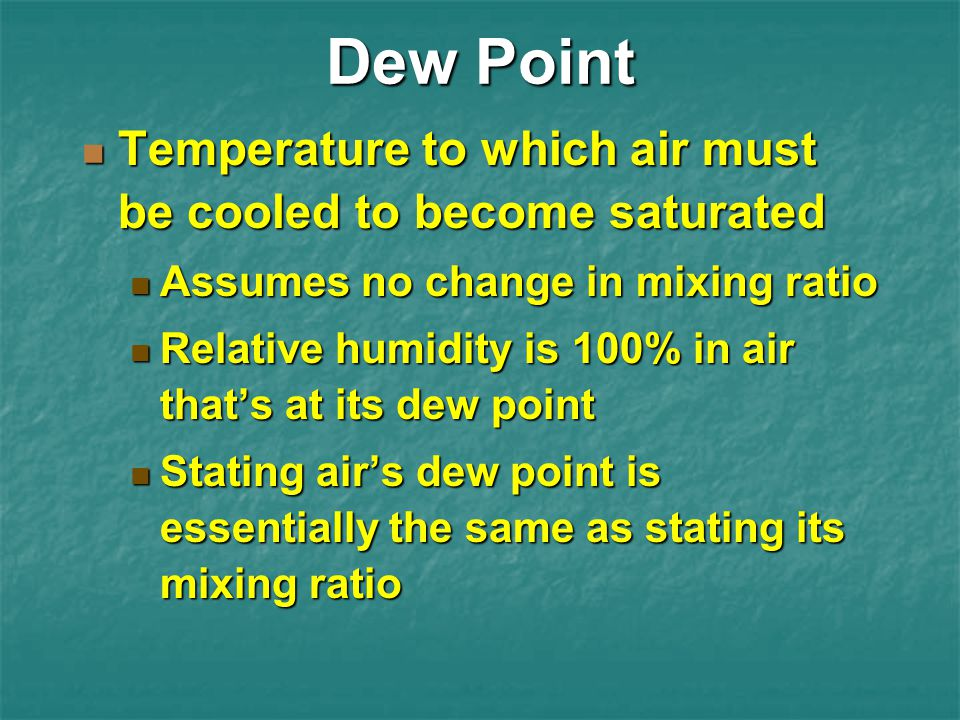 Dew Point Temperature to which air must be cooled to become saturated