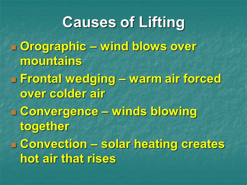 Causes of Lifting Orographic – wind blows over mountains