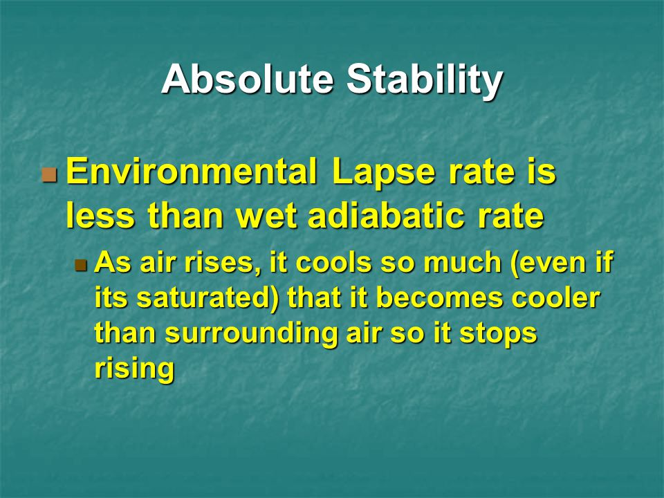 Absolute Stability Environmental Lapse rate is less than wet adiabatic rate.