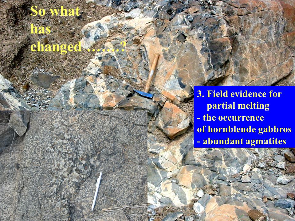 So what has changed ……. 3. Field evidence for partial melting