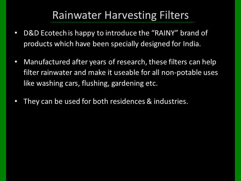 Rainwater Harvesting Filters