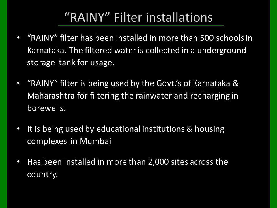 RAINY Filter installations