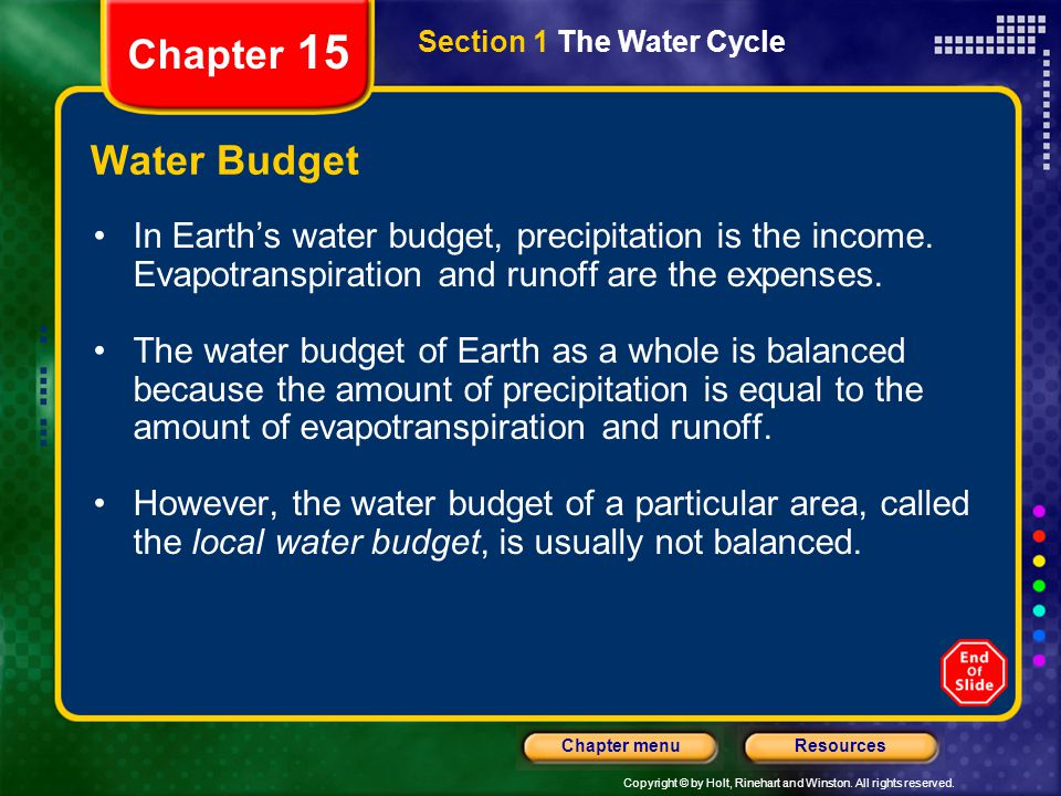 Chapter 15 Section 1 The Water Cycle. Water Budget.