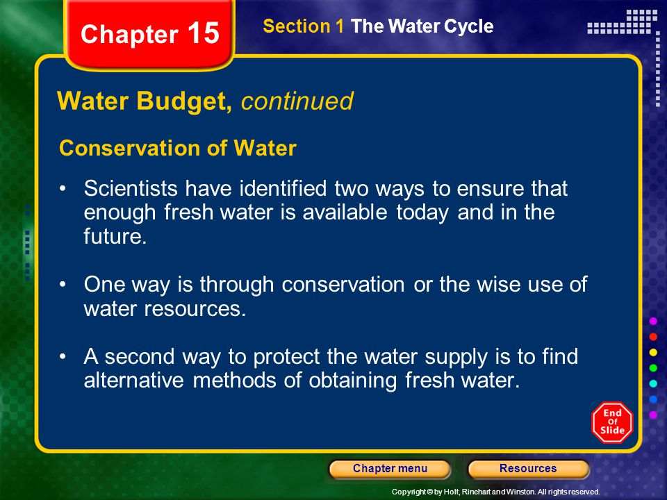 Water Budget, continued