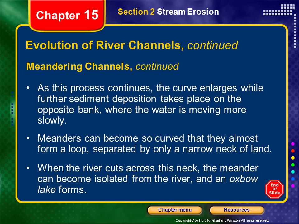 Evolution of River Channels, continued