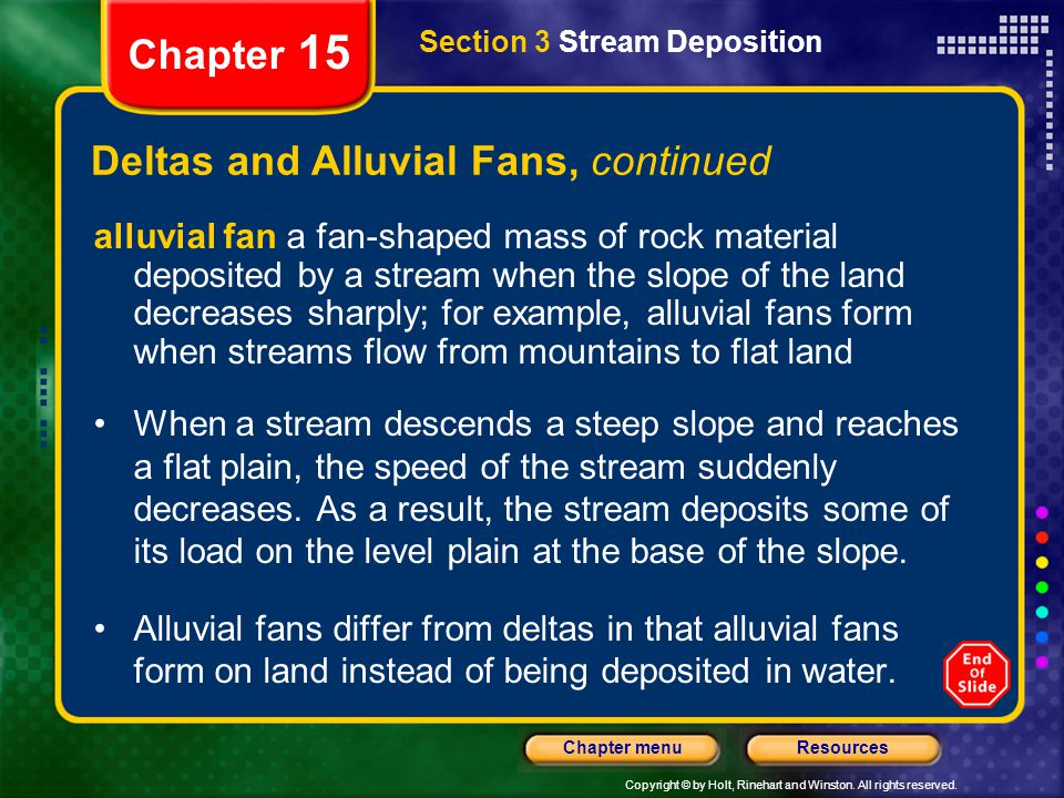 Deltas and Alluvial Fans, continued