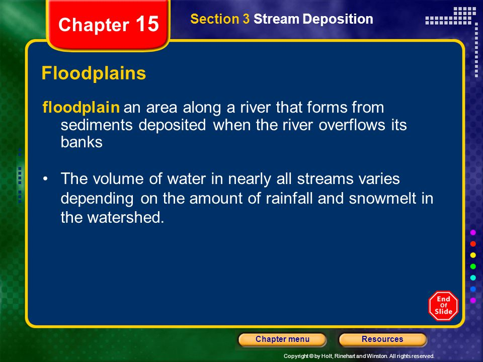 Chapter 15 Section 3 Stream Deposition. Floodplains.
