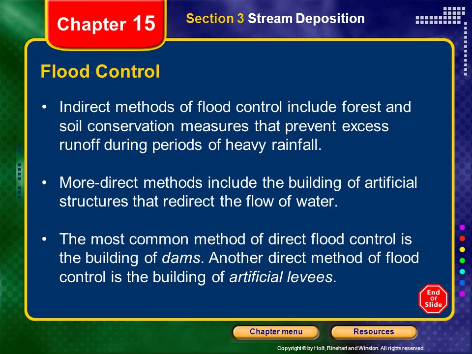 Chapter 15 Section 3 Stream Deposition. Flood Control.