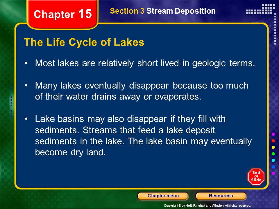 Chapter 15 The Life Cycle of Lakes