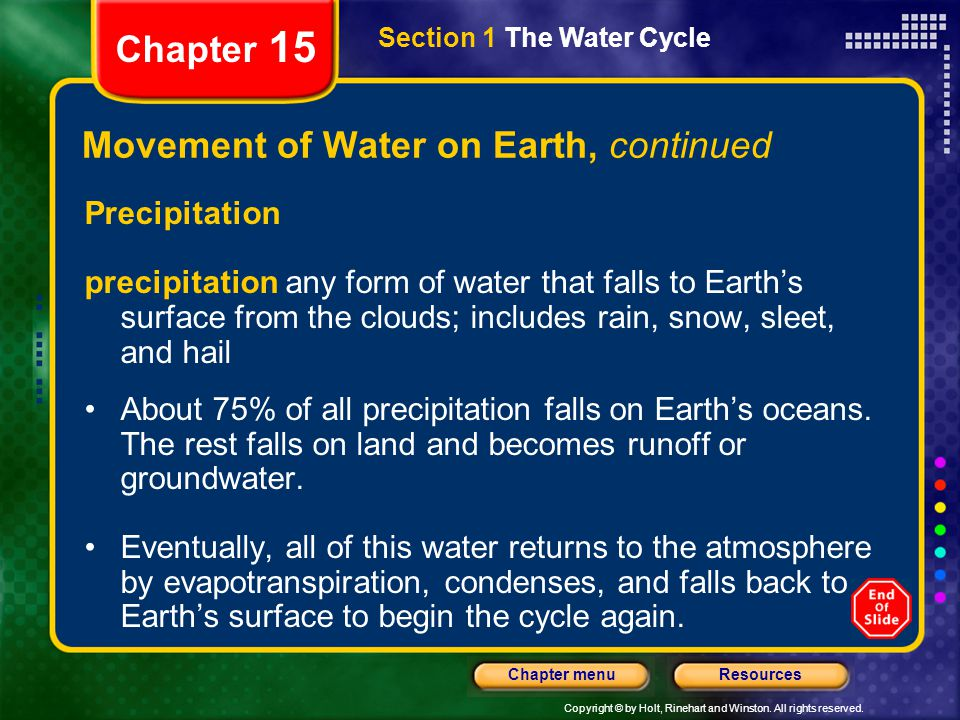 Movement of Water on Earth, continued