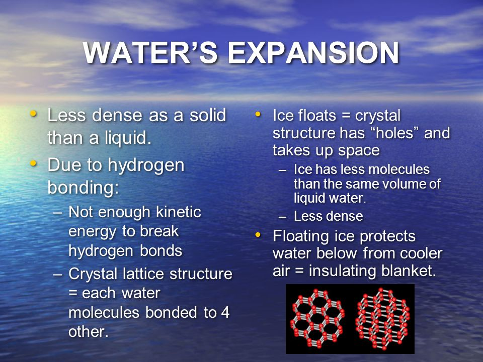 WATER'S EXPANSION Less dense as a solid than a liquid.