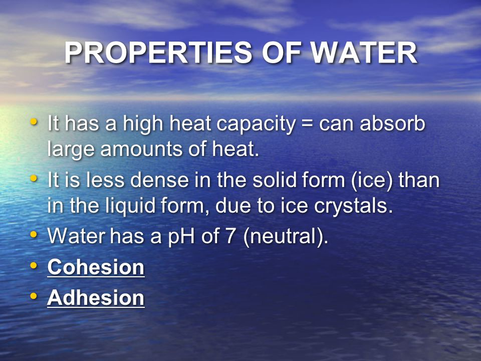 PROPERTIES OF WATER It has a high heat capacity = can absorb large amounts of heat.