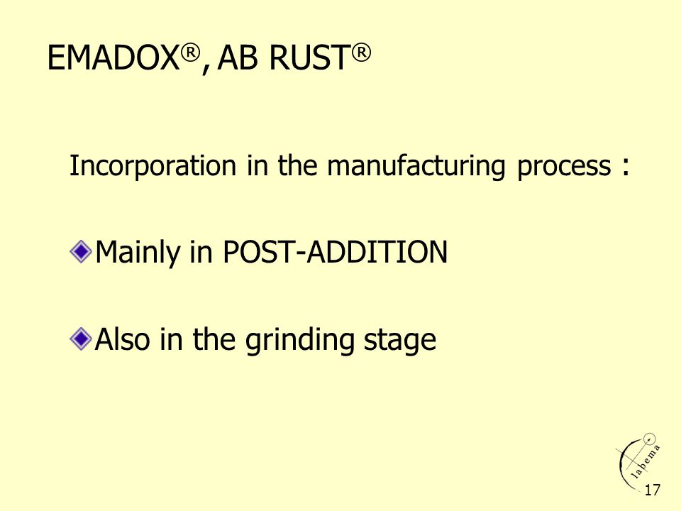 EMADOX®, AB RUST® Mainly in POST-ADDITION Also in the grinding stage