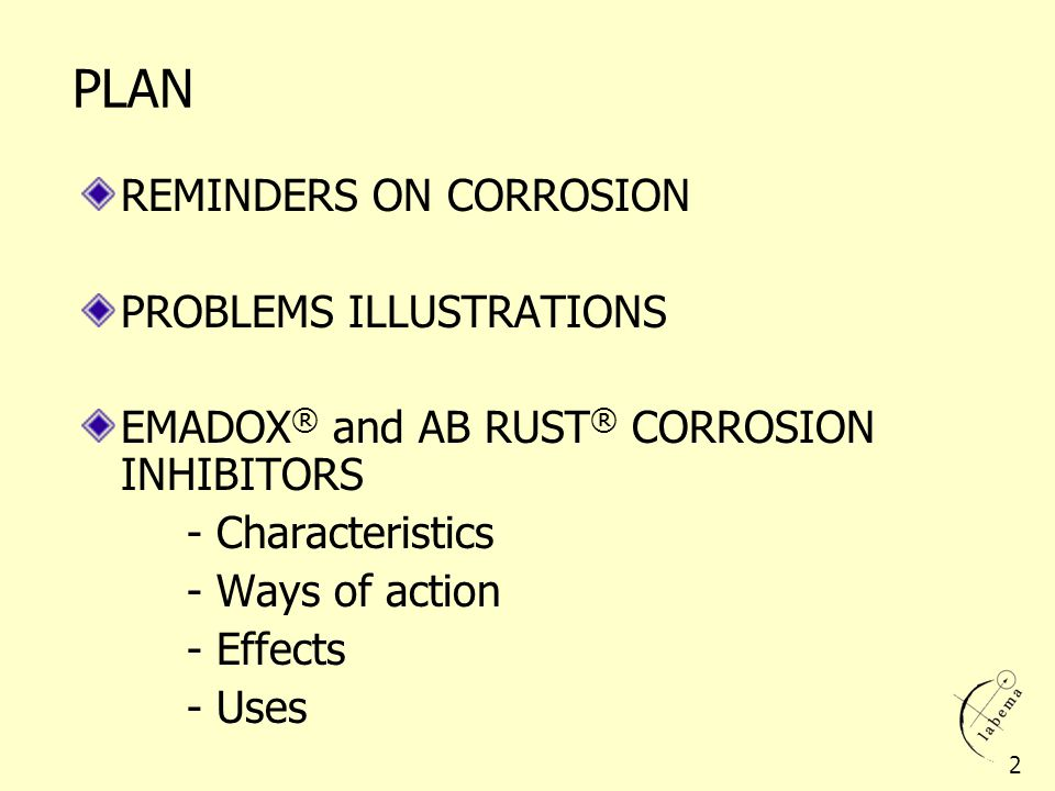 PLAN REMINDERS ON CORROSION PROBLEMS ILLUSTRATIONS