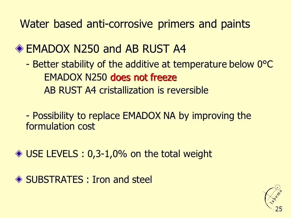 Water based anti-corrosive primers and paints
