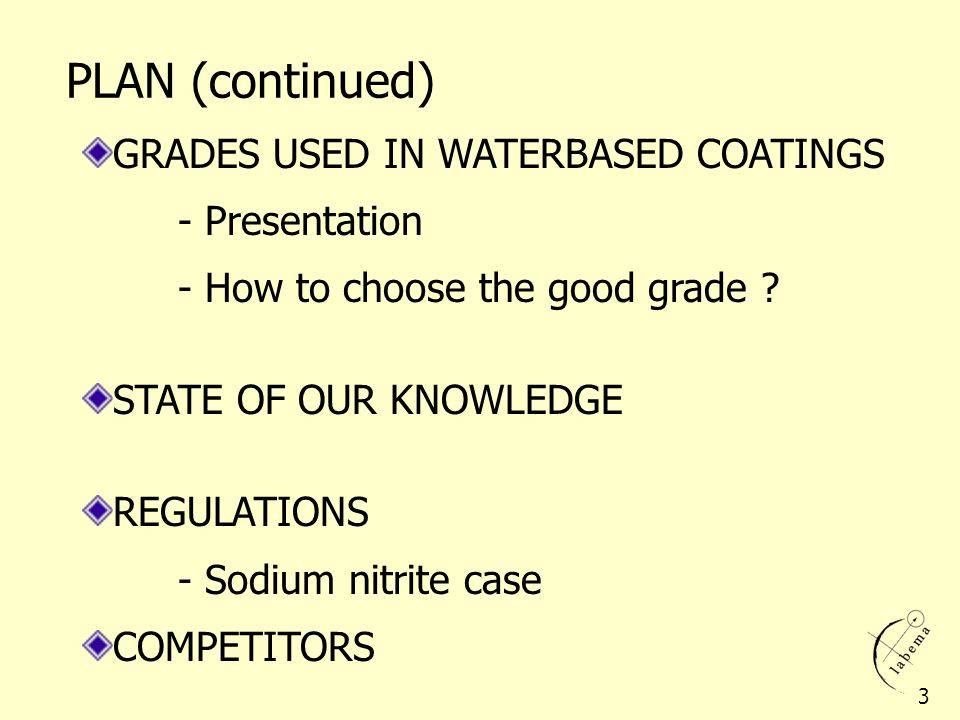 PLAN (continued) GRADES USED IN WATERBASED COATINGS - Presentation
