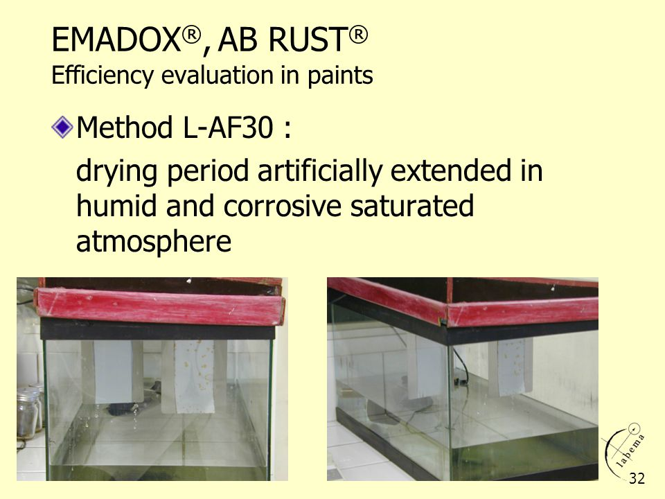 EMADOX®, AB RUST® Efficiency evaluation in paints
