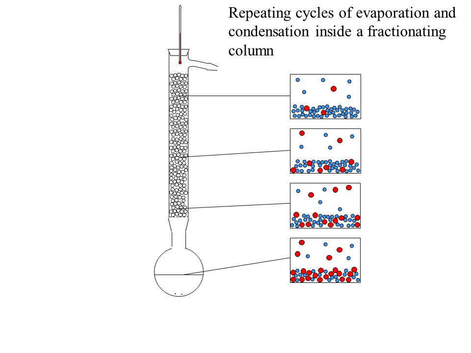 Repeating cycles of evaporation and condensation inside a fractionating column