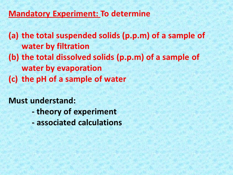Mandatory Experiment: To determine