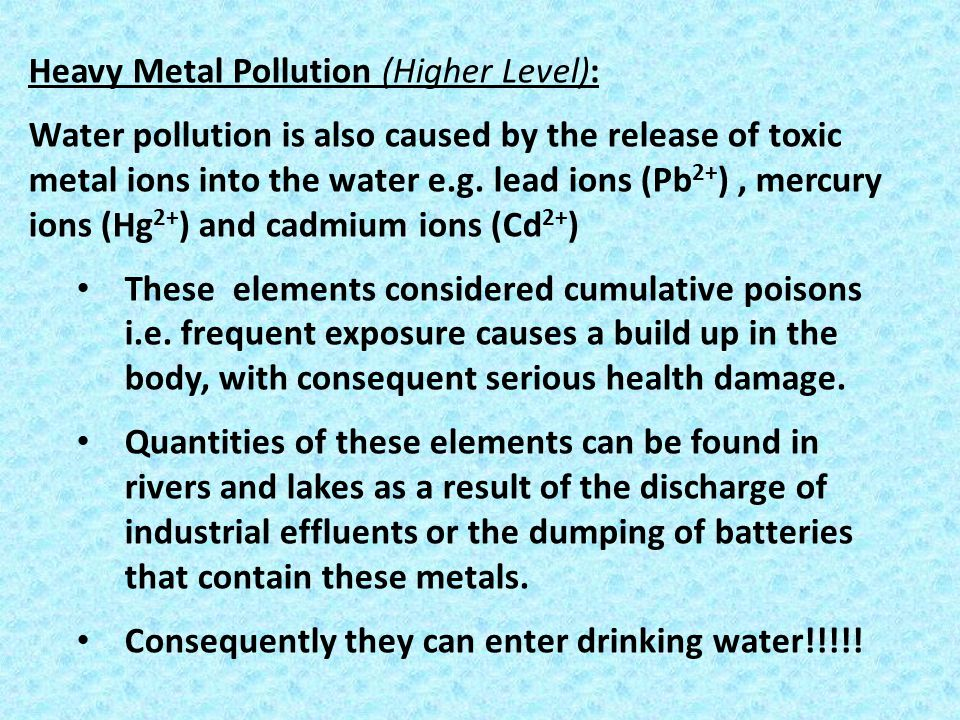 Heavy Metal Pollution (Higher Level):