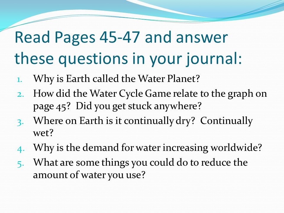 Read Pages 45-47 and answer these questions in your journal: