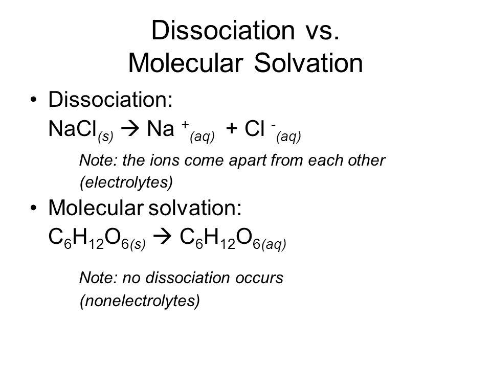 Dissociation vs. Molecular Solvation