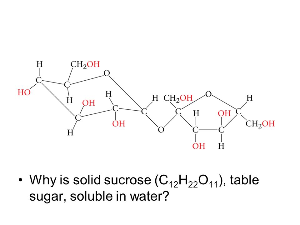 Why is solid sucrose (C12H22O11), table sugar, soluble in water