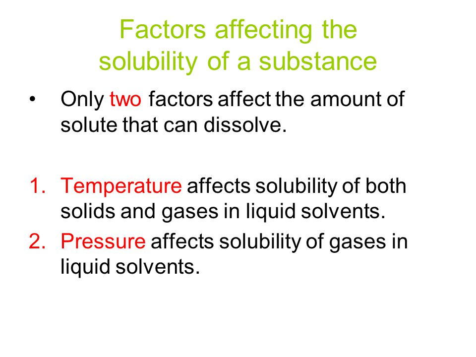 Factors Affecting Solubility and Colligative Properties
