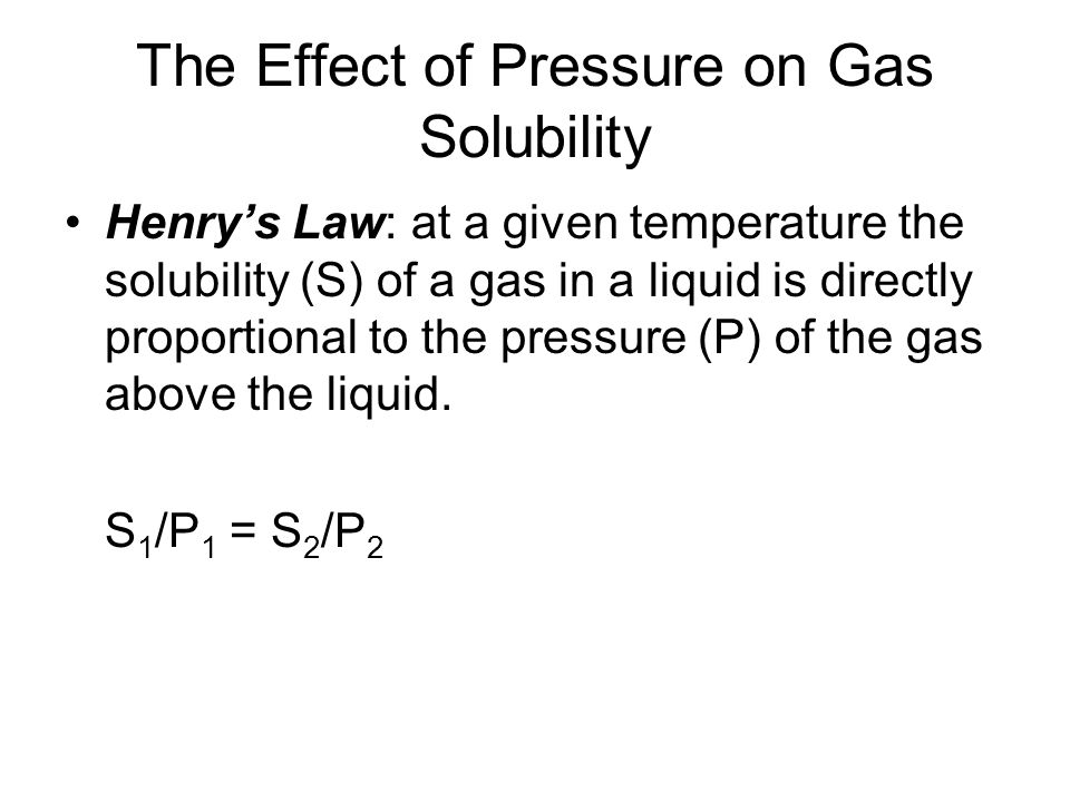 The Effect of Pressure on Gas Solubility