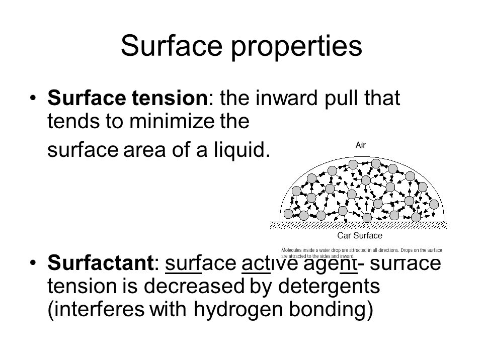 Surface properties Surface tension: the inward pull that tends to minimize the. surface area of a liquid.