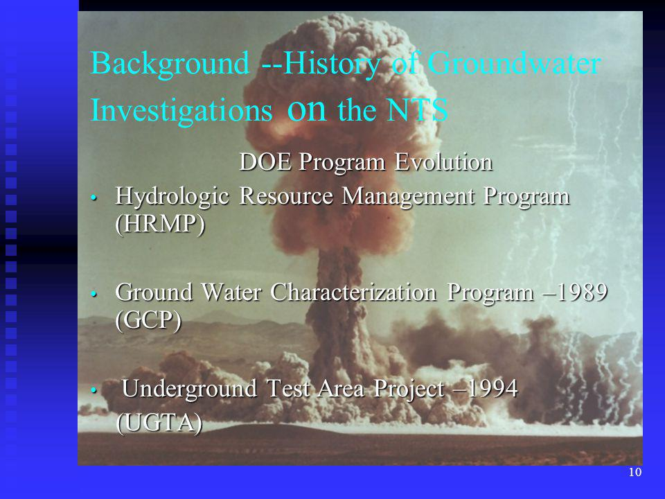 Background --History of Groundwater Investigations on the NTS