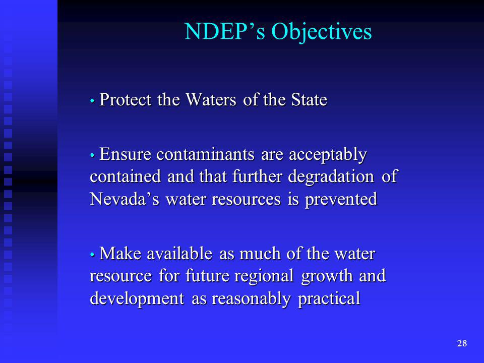 NDEP's Objectives Protect the Waters of the State