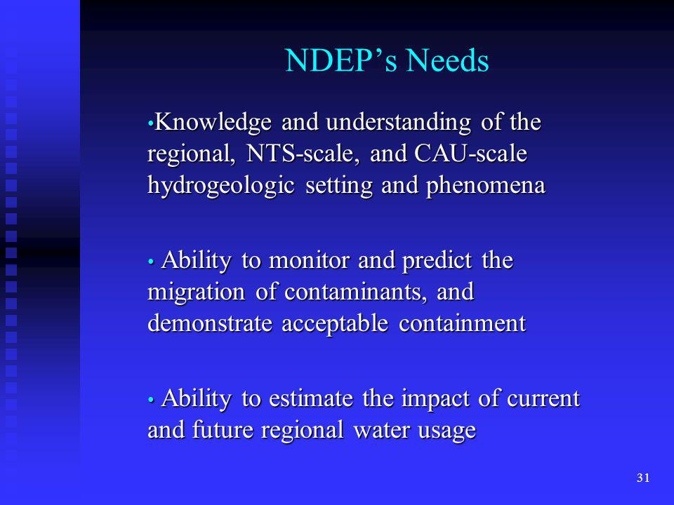 NDEP's Needs Knowledge and understanding of the regional, NTS-scale, and CAU-scale hydrogeologic setting and phenomena.