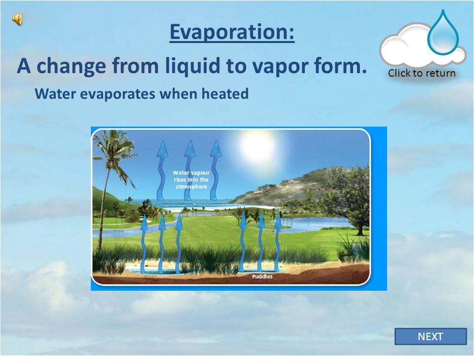 A change from liquid to vapor form.